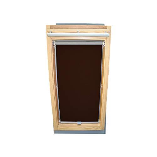 Rollo für VELUX Dachfenster THERMO Alu-Rückseite Dachfensterrollo für TYP GGL/GPL/GHL - 102 - Farbe Dunkelbraun - mit Haltekrallen