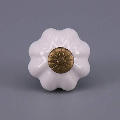 WANDOM een stuk landelijke stijl kleine pompoen vorm keramische deurknop kast lade kast Pull handvat porselein dressoir knoppen Kleur: wit