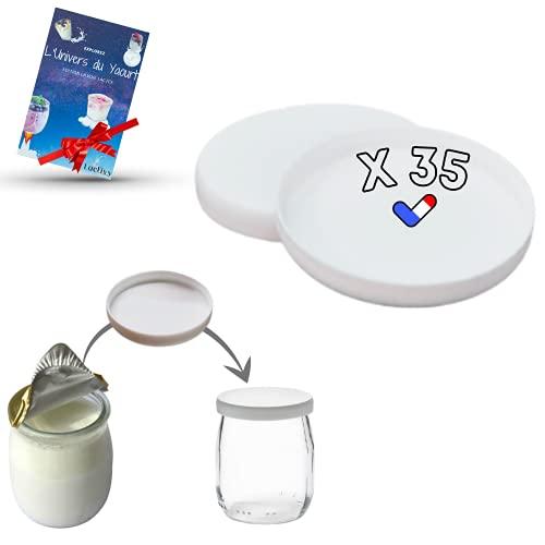Lactivy | Lot de 35 Couvercles universels souple pour pots de yaourt | Compatible avec les pots en verre la Laitière et autres | Fabrication & Marque Française | Ebook de recettes & idées offert !