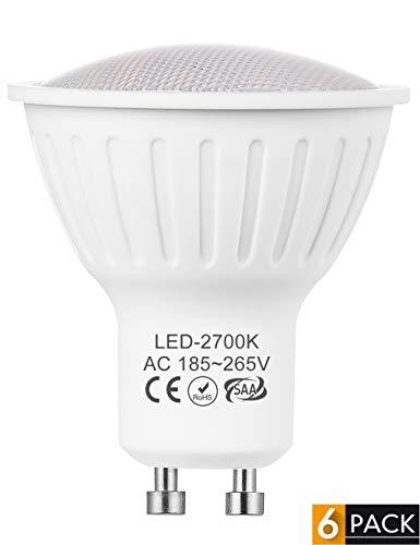 4er Pack GU10 LED Lampen, 500lm, Ersatz für 50W Halogenlampen, 5W, 230V, Warmweiß 2700K,120 ° Ausstrahlungswinkel, Dimmbar, LED-Reflektorlampe mit GU10-Sockel