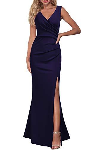 WOOSEA Women Sleeveless V Neck Split Evening Cocktail Long Dress Navy Blue