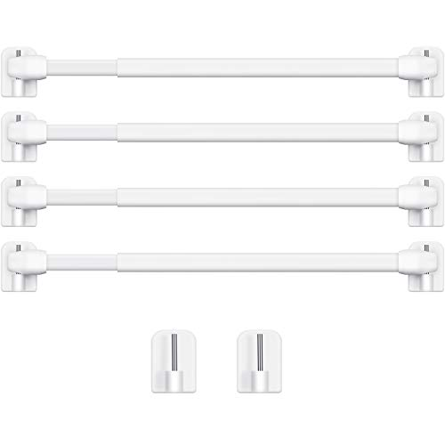 4 Pieces Extendable Curtain Rod Cupboard Bars Tensions Rod Adjustable Plastic Curtain Rod with 10 Pieces Self Adhesive Curtain Rods Hooks for Home Bathroom Hotel Supply, 15.7 to 27.5 Inches