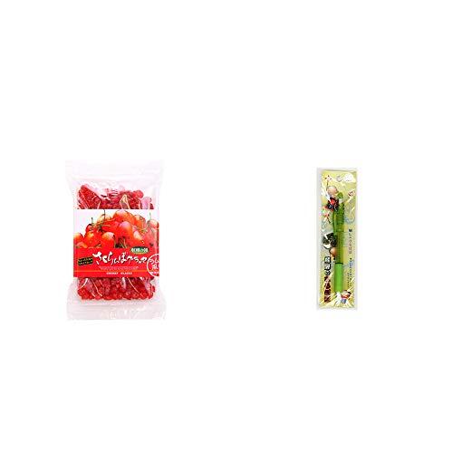 [2点セット] 収穫の朝 さくらんぼグラッセ ラム酒風味(180g)・さるぼぼ 癒しシャープペン 【グリーン】