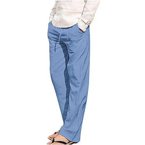 AOCRD Pantalones de hombre de moda, holgados, para el tiempo libre, holgados, para la playa, para hombre, tallas S-5XL, azul claro, XXXXL