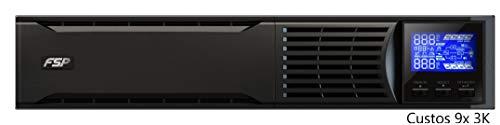 FSP Fortron Custos 9X 3K Rack Mount/Tower Dual Design, Online-USV, 3000 VA/ 2700W, bis 300VAC, Hot- Swap Batteriewechsel, Programmierbare Steckdosen mit USB, RS-232 und intelligenten Steckplatz