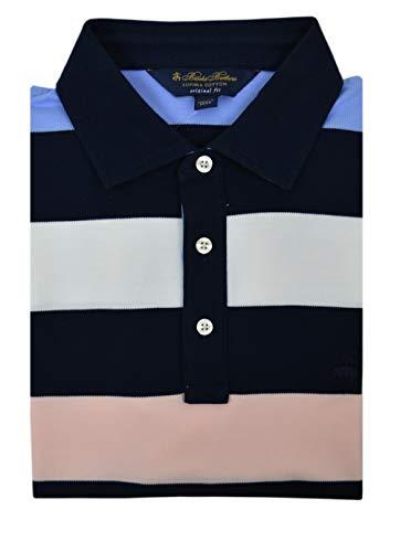 Brooks Brothers Men's Original Fit 100% Supima Cotton Performance Polo Shirt Navy Blue Multi Striped (Large)