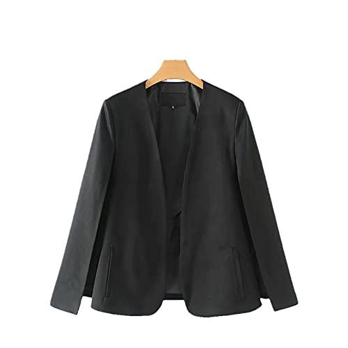 Diseño dividido mujeres capa traje abrigo casual señora negro chaqueta blanca, Negro, 36