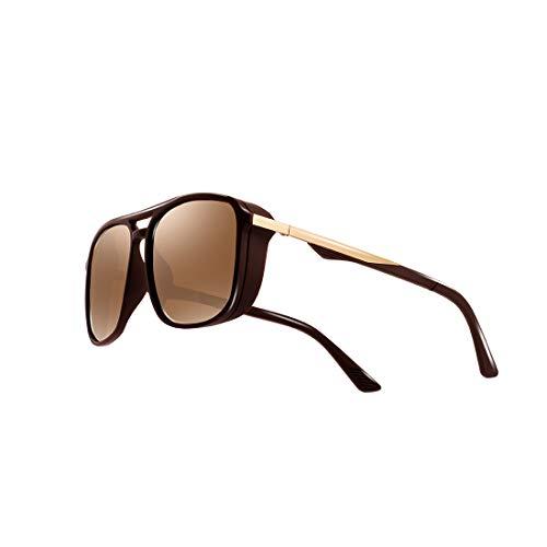 kimorn Gafas De Sol Polarizado Para Los Hombres Marco Cuadrado Unisexo Deportes Al Aire Libre Gafas Clásico K0623 (Marrón)
