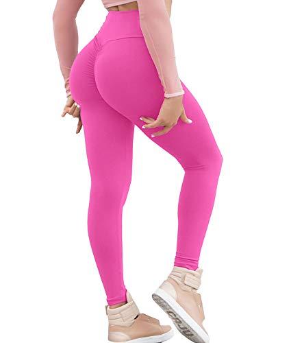 KIWI RATA Women Scrunch Butt Yoga Pants Leggings High Waist Waistband Workout Sport Fitness Gym Tights Push Up (#1 Rose, S(US 2))