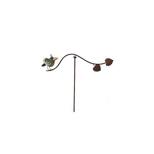 L'Héritier Du Temps Mobile de Jardin Rotatif Tuteur Tige pour Plantes Motifs Oiseau à Planter en Fer Patiné 14x67x114cm