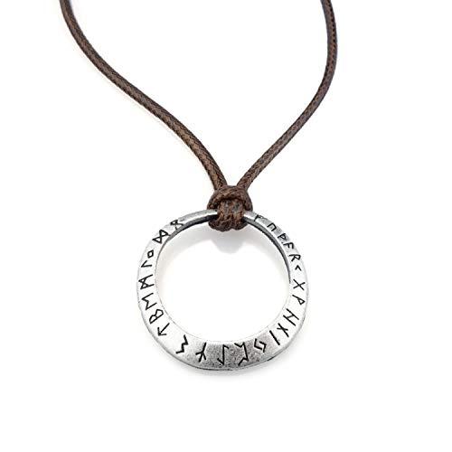 URBANTIMBER Grob Geschmiedete Wikinger Halskette Futhark Runenkreis - Schwarz oder Braun