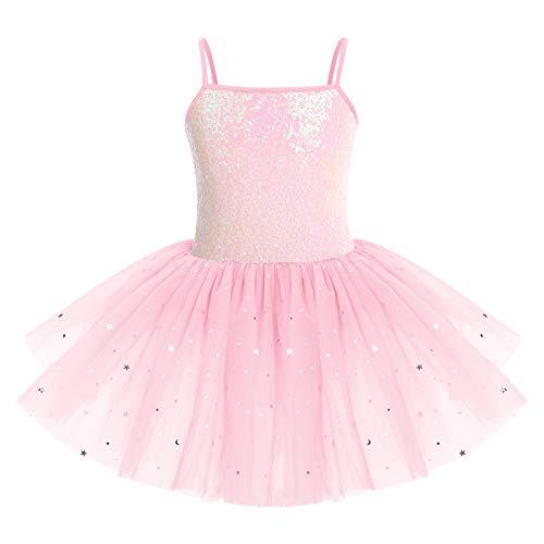 IWEMEK Kids Girls Sequins Leotard Tutu Ballet Dress Sleeveless Spaghetti...
