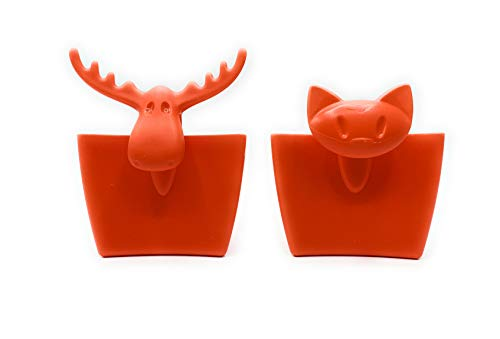 Flippi Koziol Tassenutensilo Rudolf und Mimmi Orange - Rot Teebueutel Keks Plätzchen Zucker Halter Teebeutel Keks Zucker Halter 2 er Set Katze Elch Orange Sonder Set