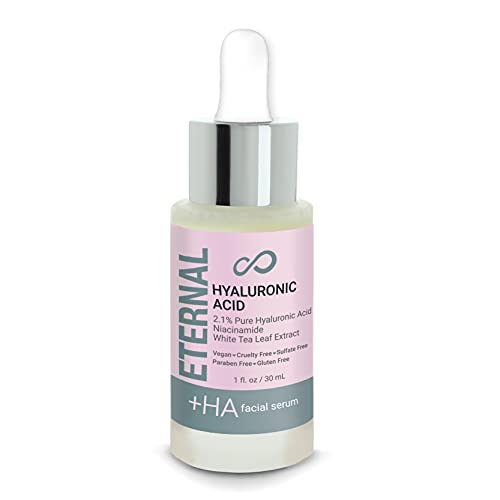 Eternal 2.1% Pure Acid Hyaluronic Serum - Niacinamide and White Tea Leaf Extract Moisturizes, Hydrates, Plumps Skin, Reduces Wrinkles and Fine Lines, Anti-Aging Serum (1Fl. Oz.)
