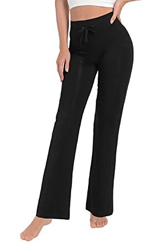 Voqeen Pantaloni della Tuta da Donna, Pantaloni Yoga Modale Sportivi Vita Alta Bootcut Pants con Coulisse Corsa Uscire Pantaloni Flare Lunghi a Zampa Elefante(Nero,L)