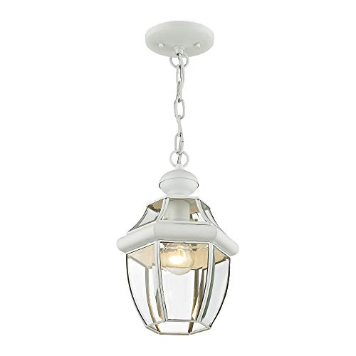 Livex Lighting 2152-03 Monterey 1-Light Outdoor Hanging Lantern, White