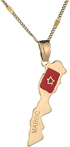 huangxuanchen co.,ltd Collar con Colgante de Mapa de Marruecos de Color Dorado, joyería de Cadena de Mapa de Marruecos para Mujer