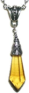 GOLDEN TOPAZ GLASS CRYSTAL SPIKE NECKLACE Long Drop Silver Plt Spear Pendant