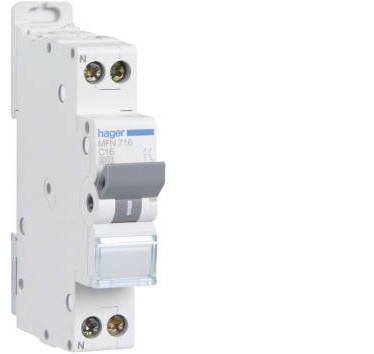 HAGER - Disjoncteur Ph+N 2A, pouvoir coupure 3kA, courbe C, 1M - MFN702