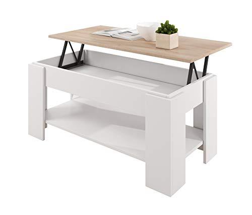 muebles bonitos Mesa de Centro elevable Modelo Nicoleta Blanco y Sonoma