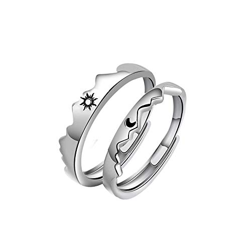 2Pcs 925 Sterling Silver Adjustable Ring Couple Promise Engagement Ring, Male And Female Wedding Day And Moon Ring