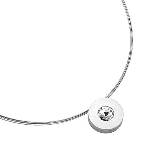 Heideman Halskette Damen Lumen aus Edelstahl silber farbend matt Kette für Frauen mit Swarovski Stein weiss rund 10mm