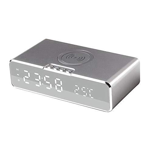 Blesiya Escritorio LED USB multifunción Cargador inalámbrico Despertadores con Temperatura día Fecha Brillo Ajustable para el hogar Habitaciones Oficina niños - Blanco