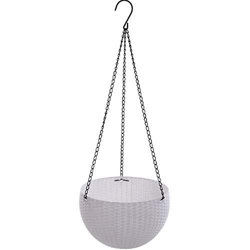 Cesta de plástico para colgar en interiores y exteriores, cesta redonda de resina para jardín, macetas colgantes de decoración (blanco)