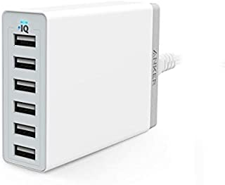 Anker PowerPort 6 Wall Charger 6 Ports with PowerIQ Technology White