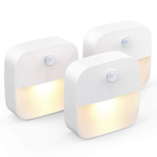 unibelin Led Nachtlicht mit Bewegungsmelder, Nachtlampe mit Dämmerungssensor Energieeffizient automatisch Nachtleuchte Schrankbeleuchtung für Kinderzimmer, Treppe, Küche, Orientierungslicht, WarmWeiß