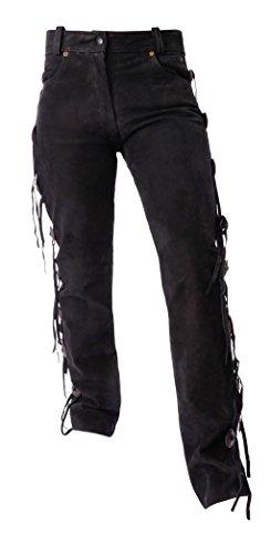 Ledershop-online Bangla 11509 Damen Jeans Nubuk Lederhose Biker Westernstil Schwarz Inch 29