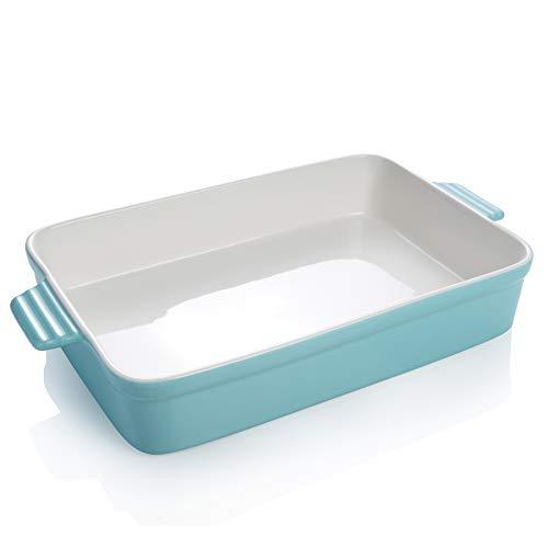 Sweese 520.102 Porcelain Baking Dish, Non-stick Lasagna Pan, Large Rectangular Baking Pan, Casserole Dish, 13 x 9 Inches, Turquoise