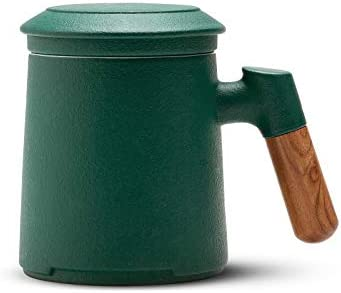 ZENS Tea Mug with Infuser 13 5 Ounce Stoneware Glazed Ceramic Tea Cup with Lid and Rosewood product image