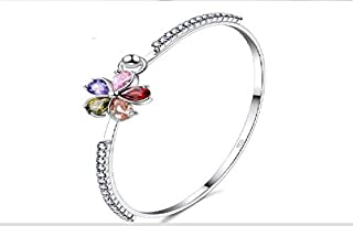 Cubiz Zircon Flower Bracelet 925 Sterling Silver Plated
