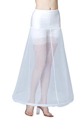 BEAUTELICATE Petticoat Unterröcke Reifrock Damen Rockabilly A Linie Lang für Hochzeit Brautkleid Abendlieid Weiß (Weiß - 1 Reifen,38-42)