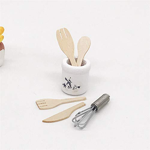 Fasclot Dollhouse Toys Miniature Furniture 1/12 Scale Wooden Kitchen Fork Metal Whisk Jar Accessories Pretend Play Kids Children Education Toys for Christmas Birthday New Year Gift