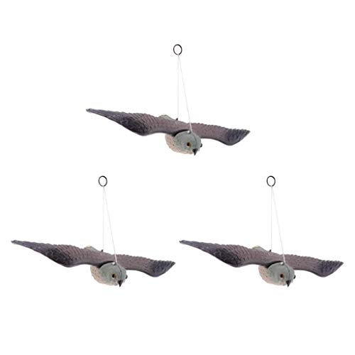 AMAZING1 Realistic Flying Bird Hawk Decoy Pigeon Crow Scarecrow Garden Hunting Scarer, Pack of 3
