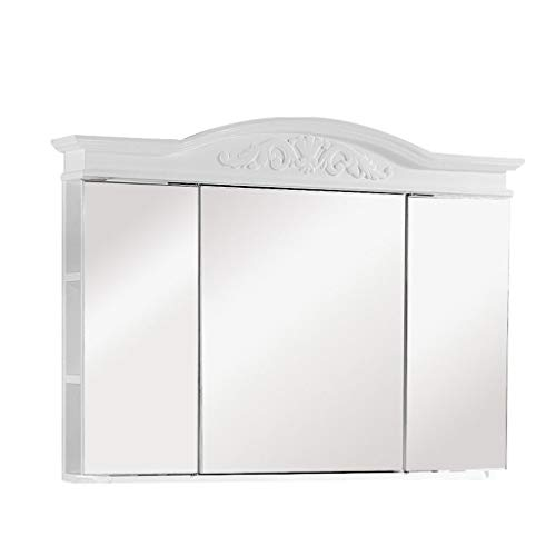 GXFC Wand-Badezimmerschrank - Dreitüriger Klapp Spiegelschrank aus Holz - Hängeschrank Spiegel/Schminkschrank - Multifunktionaler Medizinschrank - Europäischer Stil - Weiß