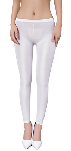 zukzi Womens Sexy Lingerie See Through Leggings Sheer Leggings Multi-Colors, White, S/M