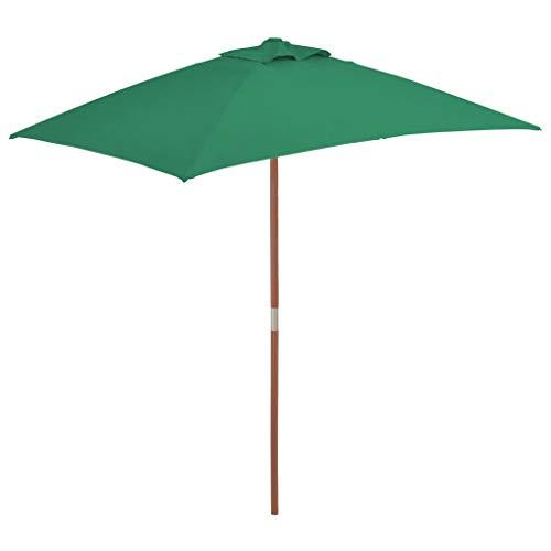 Tidyard Tuinparasol Parasol Parasol Voor Buiten met Houten Paal 150x200 cm Groen