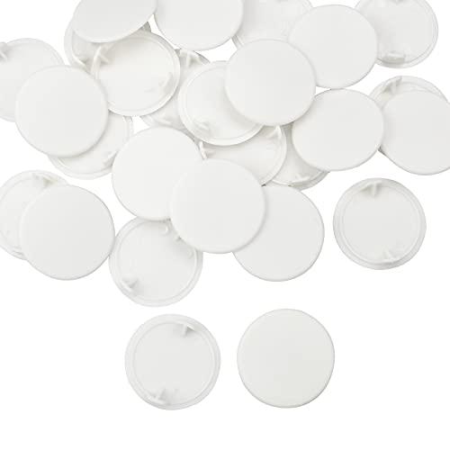 oupados 28 Piezas Tapa Agujeros Mueble Blanco Tapones de Orificios de Bisagra Tapas Redondas para Ocultar Agujeros para Muebles, Armarios, Decoración (35 mm)