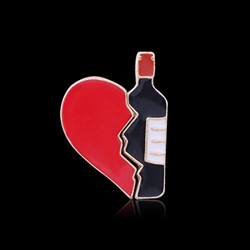 ZSCZQ Corazón y Botella de Vino Pines de Esmalte Corazón Roto Pieza de Rompecabezas Dibujos Animados Amor Broches Chaquetas Pin de Solapa Insignia Regalo de la joyería para el Amante Botella de Vino