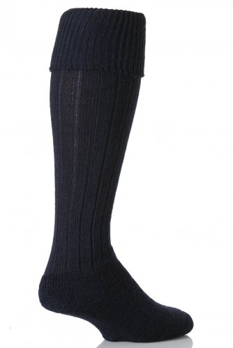 Alex J. Swift knielangen Woll Rib-Walking-Socken - 8-11 Mens - Marine