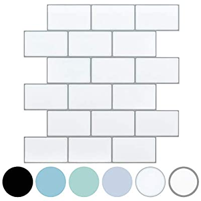 LONGKING 10-Pack Thicker Subway Tiles Peel and Stick Backsplash, White Stick on Tiles Kitchen Backsplash (Pack of 10, Thicker Design)