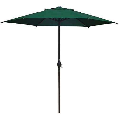 Abba Patio 9' Patio Umbrella Market Umbrella Outdoor Table Umbrella with Push Button Tilt & Crank for Patio, Dark Green