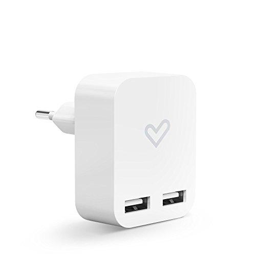 Energy Sistem Home Charger 2.4A Dual USB (2400mA, Universal 100%, Doble Salida USB para Cargar Dos Dispositivos al Mismo Tiempo, Compatible con Smartphones o Tablets Android e iOS) – Color Blanco