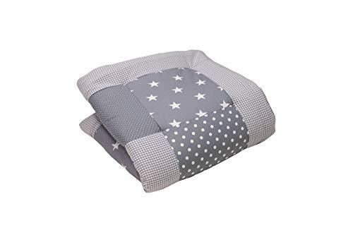 Alfombra para gatear de ULLENBOOM  con estrellas grises (manta para bebé de 80x80 cm; ideal como colcha para el cochecito; apta como alfombra de juegos)