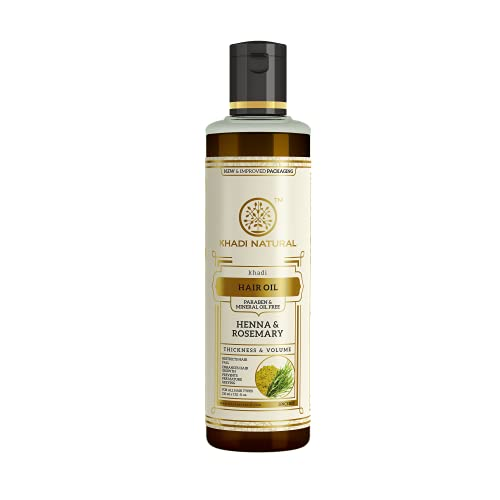 KHADI NATURAL Rosemary And Henna Hair Oil, Paraben and Mineral Oil Free, 210ml