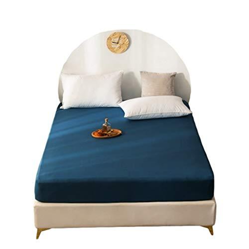 YUDIZWS Coprimaterasso Matrimoniale Impermeabile Antiacaro Fodera per Letto Materassi Proteggi Materasso Fino A 30 CM di profondità Materasso Topper (Color : Dark Blue, Size : 120x200+25cm)