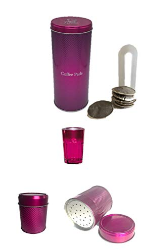 James Premium Kaffeepad-Dose, Blech, Metallic PINK mit Padheber Schokostreuer Metallic Glas 269ml metallic